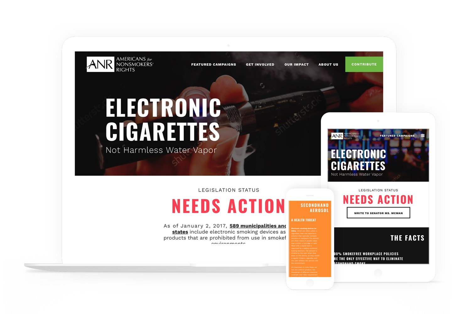 American for Nonsmokers' Rights displayed on a laptop, a tablet, and a phone.
