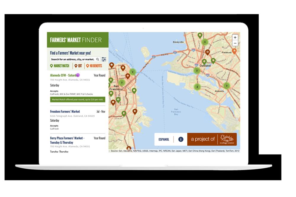 Ecology Center Farmer's Market Finder displayed on laptop.